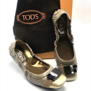 TOD'S Italian Leather Embellished Ballet Flats-6.5